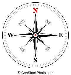 Compass - Illustration of vector compass on white background