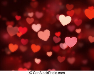 hearts bokeh with red background.