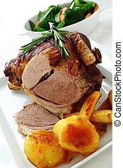 roast leg of lamb dinner