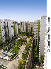 residential estate - Vertical high angle shot of a...