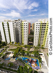 residential estate - A high angle shot of a residential...