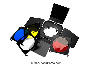 Color photo lighting equipment and filters isolated on white...