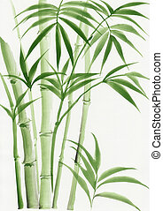 Watercolor painting of palm bamboo - Original watercolor...