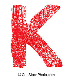 sketch letter K isolated on white background