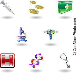 Shiny Medical Icons - A set of shiny glossy medical icons