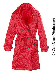 red female coat isolated on white background