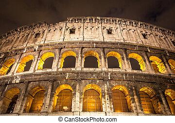 Colosseum, Italien, Erleuchtet, Nacht