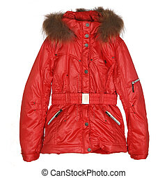 red female winter jacket isolated on white