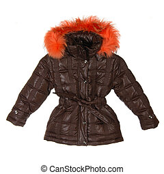 brown female winter jacket isolated on white