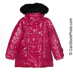 pink female winter jacket isolated on white