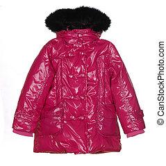 pink female winter jacket isolated on white