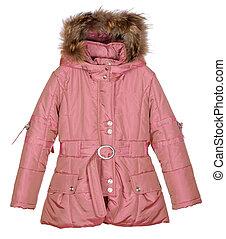 pink female winter jacket isolated on white background