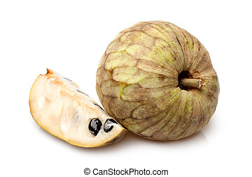 Cherimoya fruit (Annona cherimola) on a white background