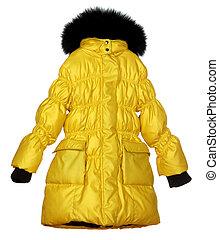 yellow female winter coat isolated on white background