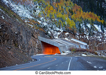 Million dollar highway in early winter time