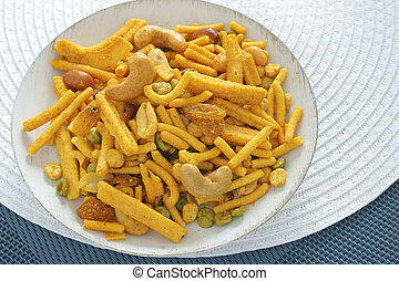 Bombay mix - A spicy Indian snack of noodles nuts and peas...