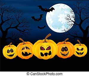 Halloween pumpkins - Vector illustration for Halloween with...