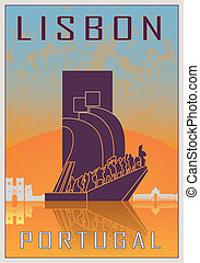 Lisbon vintage poster in orange and blue textured background...