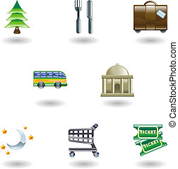 Travel and Tourism Icons - Tourist locations icon set Icon...