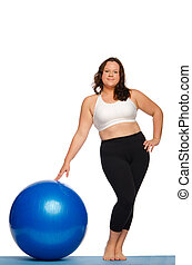Fat woman with ball isolated on white