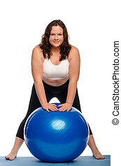 Fat woman with a ball Isolated on white