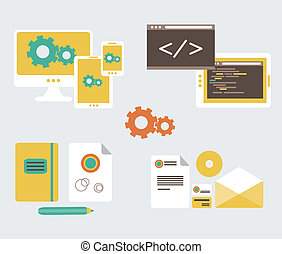 Flat design of business branding and development web page,...
