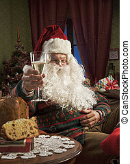 Santa Claus - Portrait of Santa Claus celebrating with a...