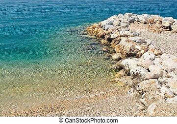 Beautiful beach with stones