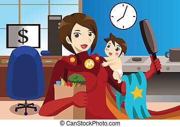 Superhero mom concept - A vector superhero mom concept