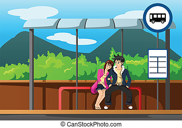 Man and woman at bus stop - A vector illustration of man and...