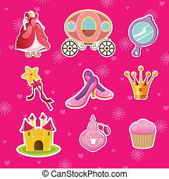 Princess icons - A vector illustration of princess icon...