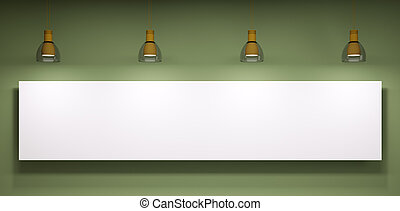Whiteboard over the green wall - Whiteboard and lamps over...