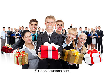 business people present - business people hold gift box...