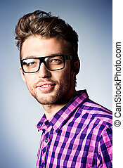 young man - Portrait of a modern young man in spectacles