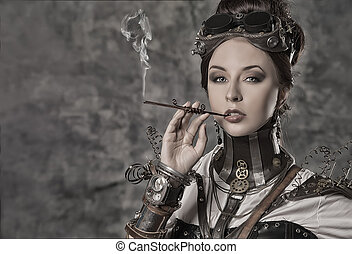 statuesque woman - Portrait of a beautiful steampunk woman...