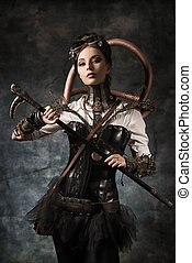 mechanism - Portrait of a beautiful steampunk woman over...