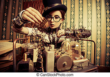 experiment - Portrait of a beautiful steampunk woman over...