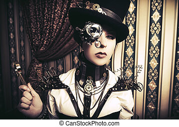 clockwork - Portrait of a beautiful steampunk woman over...