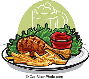 chicken leg and fries