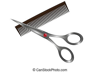 small comb and scissors - small comb and metal scissors on...
