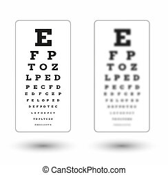sharp and unsharp snellen chart with shadow on white...