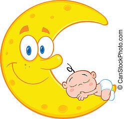 Cute Baby Boy Sleeps On Moon