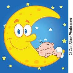 Cute Baby Boy Sleeps On Moon - Cute Baby Boy Sleeps On The...