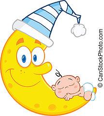 Baby Boy Sleeps On The Smiling Moon