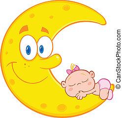 Baby Girl Sleeps On The Moon - Cute Baby Girl Sleeps On The...