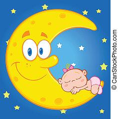 Baby Girl Sleeps The Moon Over Sky - Cute Baby Girl Sleeps...