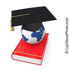 concept of education - one academic cap or mortarboard with...