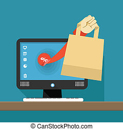 Internet shopping illustration Hand with shopping bag