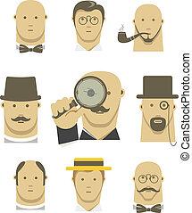 Vintage detective gentlemen characters set