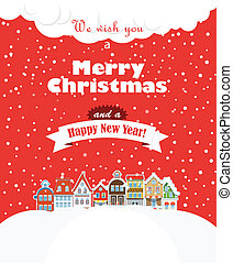 Christmas greating card Vintage buildings with snowfall on...